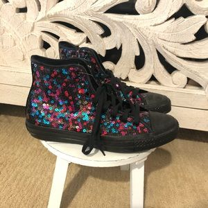 Sequin Multi Colored Converse with black details